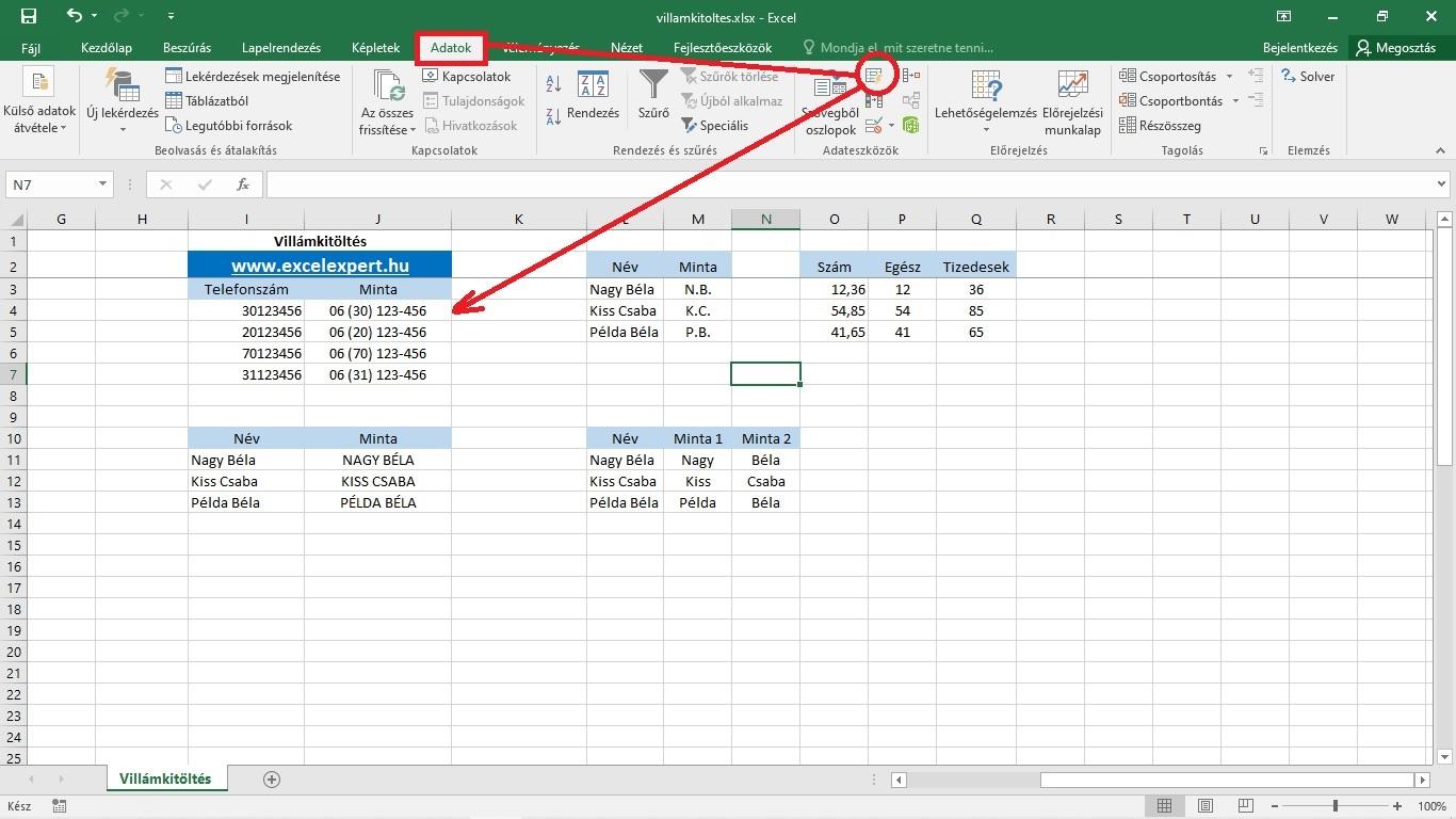 Excel villámkitöltés