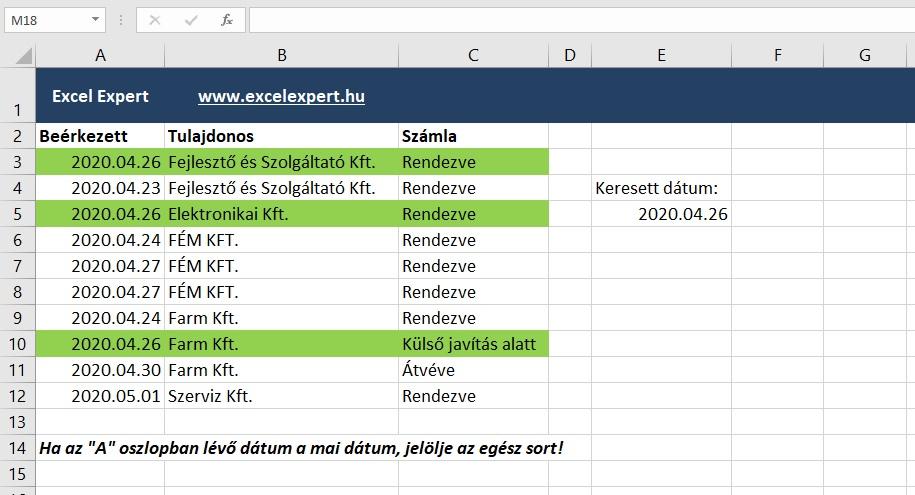 Egész sor feltételes formázása Excelben
