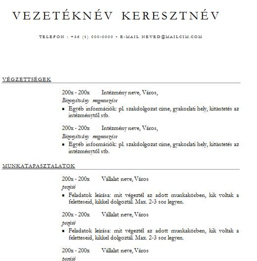 egyszerű magyar önéletrajz minta Egyszerű sablon főleg magyar állásokra A verzió egyszerű magyar önéletrajz minta
