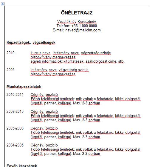 önéletrajz minta magyar angol Egyszerű sablon főleg magyar állásokra B verzió önéletrajz minta magyar angol