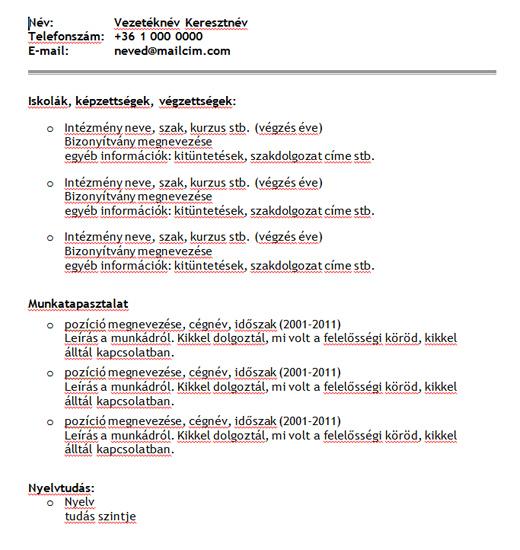egyszerű magyar önéletrajz minta Egyszerű sablon főleg magyar állásokra C verzió egyszerű magyar önéletrajz minta