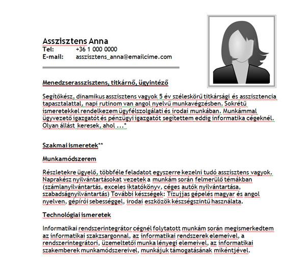 önéletrajz minta asszisztens Asszisztens Anna   Jobangel önéletrajz mintája adminisztrátoroknak önéletrajz minta asszisztens
