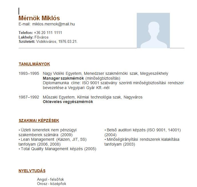 önéletrajz végzettség Mérnök Miklós   a Beck and Partners önéletrajz mintája mérnököknek önéletrajz végzettség