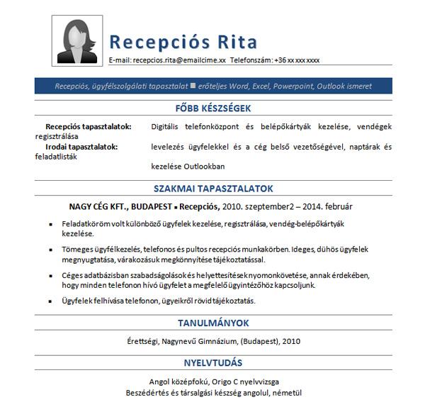 önéletrajz minta pultos állásra Recepciós Rita   Jobangel önéletrajz mintája önéletrajz minta pultos állásra