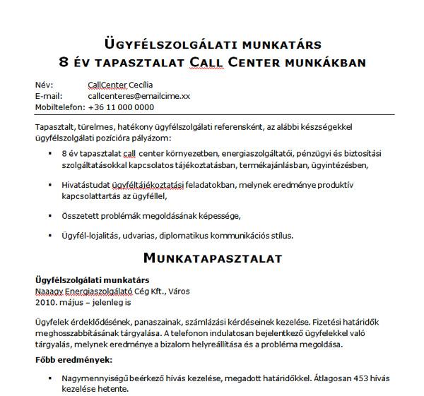 önéletrajz minta call center Ügyfélszolgálati munkatárs   Jobangel önéletrajz mintája önéletrajz minta call center