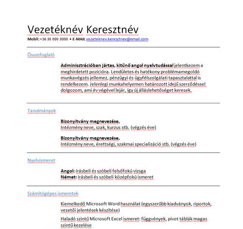 önéletrajz jó tulajdonságok Így jelenjen meg a munkanélküliség a CV ben   Jobangel mintája önéletrajz jó tulajdonságok