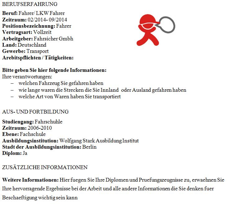 önéletrajz minta sofőr A Tjobs német nyelvű önéletrajz mintája sofőröknek önéletrajz minta sofőr