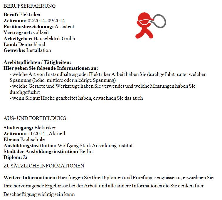 önéletrajz villanyszerelő Német nyelvű CV minta villanyszerelőknek a Tjobstól önéletrajz villanyszerelő
