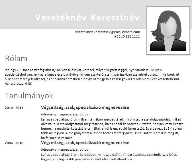 europass önéletrajz pályakezdőknek Önéletrajz minta pályakezdőknek europass önéletrajz pályakezdőknek
