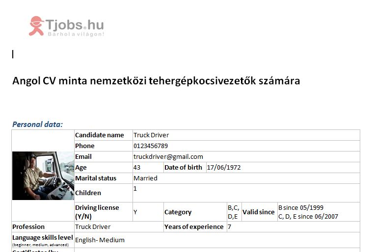 hr portál önéletrajz minta HR Portal   Angol nyelvű önéletrajz minta tehergépkocsi sofőröknek  hr portál önéletrajz minta
