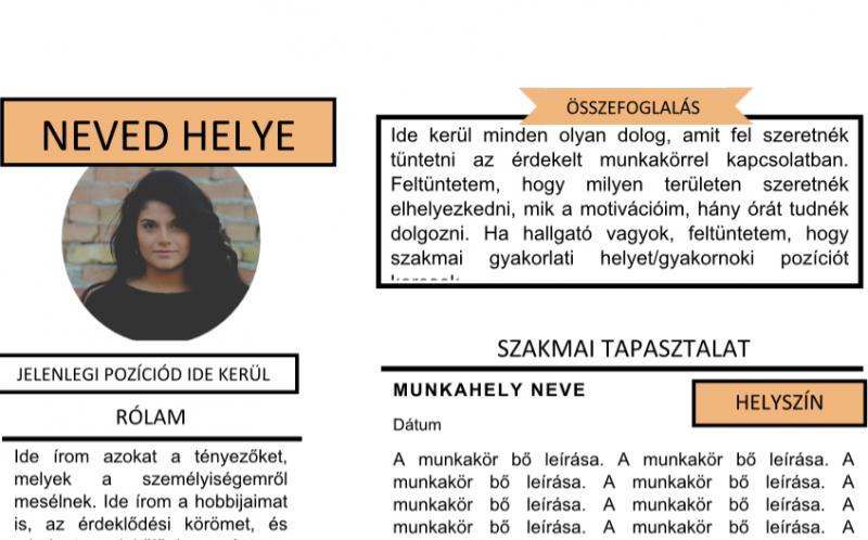 önéletrajz rólam Magyar nyelvű kreatív CV minta önéletrajz rólam