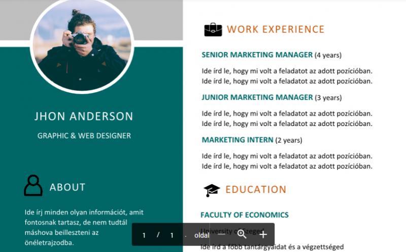 önéletrajz kreatív Angol nyelvű kreatív CV minta önéletrajz kreatív